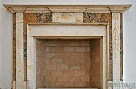 Brick Marble Mantle Fireplace
