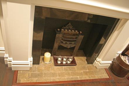 brick marble fireplace